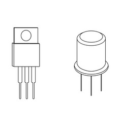 Transistor outline icons vector
