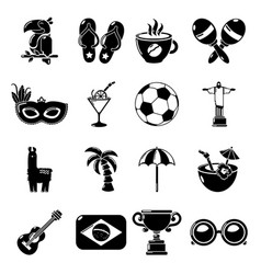 travel brazil icons set simple style vector image