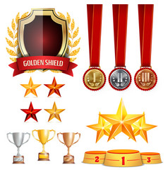 Trophy awards cups golden laurel wreath with red vector