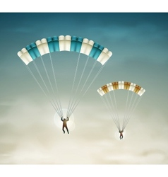 Two parachutists vector