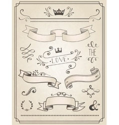 Vintage Wedding graphic set vector