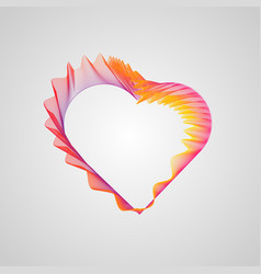 wavy valentines heart decorative neon heart of vector image