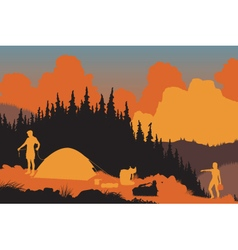 Wilderness campers vector image