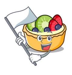 With flag fruit tart mascot cartoon vector