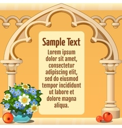 Wooden arch with sample text style card in beige vector