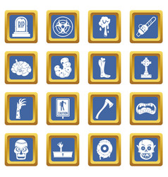 zombie icons set blue vector image