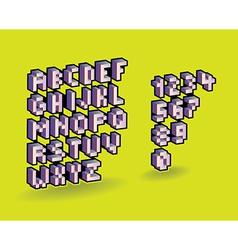 3d pixel alphabet vector image vector image