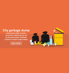 City garbage dump banner horizontal concept vector