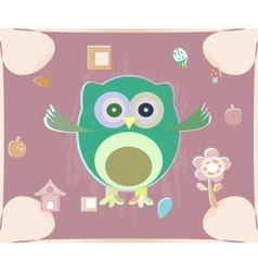 cute owl card Baby girl arrival announcement card vector image