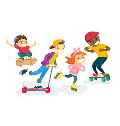group of multiethnic children playing together vector image vector image