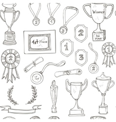 seamless pattern with decorative sketch Award vector image vector image