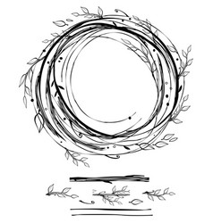 sketch style nest made of floral branches vector image vector image