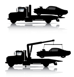 TOW TRUCKS SILHOUETTES vector image