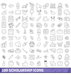 100 scholarship icons set outline style vector image