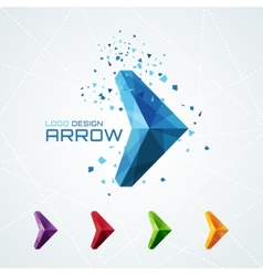 Abstract triangular arrow logo vector image vector image