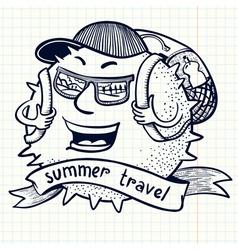 backpack traveler vector image