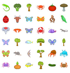 biology icons set cartoon style vector image