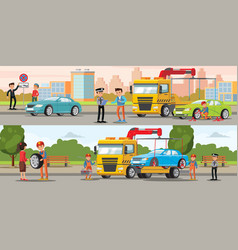 car evacuation horizontal banners vector image