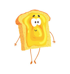 cute cartoon toast with jam and smiley face funny vector image