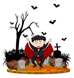 graveyard scene with vampire and bats vector image vector image