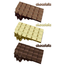 colorful melted chocolate blocks set vector image vector image