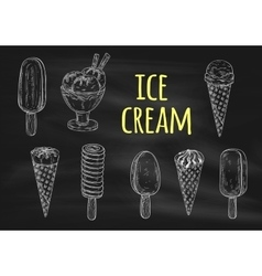 Ice cream chalk sketch icons on blackboard vector image