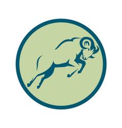 mountain sheep jumping circle icon vector image vector image