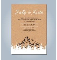 Mountain wedding invitation rustic card vector image
