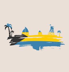 vintage seaside view poster vector image