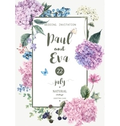 wedding invitation with Hydrangea vector image vector image