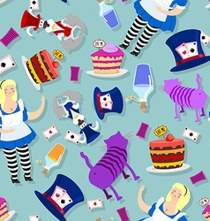 Alice in Wonderland pattern Fat woman and Cheshire vector image vector image