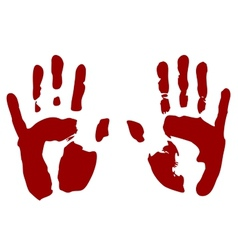 Bloody print of hands vector image