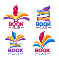 Book club library or shop cartoon logo template vector