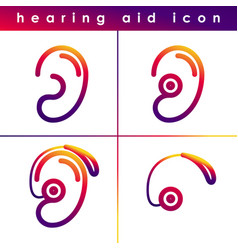 ear hearing aid deaf problem icons set vector image vector image