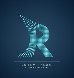 abstract creative dots logo letter R vector image