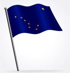 alaska ak flag flying on flagpole vector image