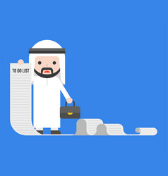 arab businessman or manager holding long paper of vector image