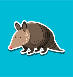 Armadillo character sticker template vector