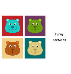 Assembly of flat icons on theme funny animals bear vector