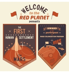 Award pennants for Mars colonization program vector image