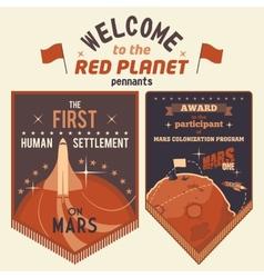 Award pennants for Mars colonization program vector