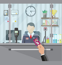 Bank teller behind the window vector