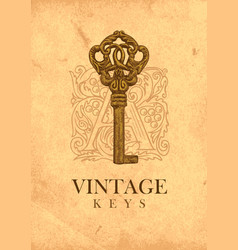 Banner with vintage key and ornate initial letter vector