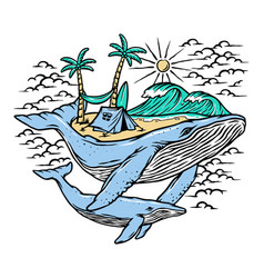 beach and whales vector image