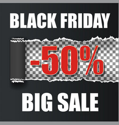 black friday vect ripped paper back vector image