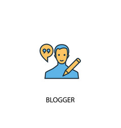 blogger concept 2 colored icon simple blue vector image