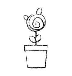blurred silhouette drawing small rose with leaves vector image