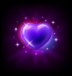 bright purple glossy heart with sparkles slot vector image