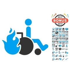 Burn Patient Icon With 2017 Year Bonus Symbols vector image