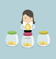 businesswoman putting coin into jar vector image